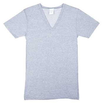 Heather Gray Adult V-Neck T-Shirt - Large